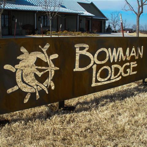Waterjet cut metal signs Bowman Lodge